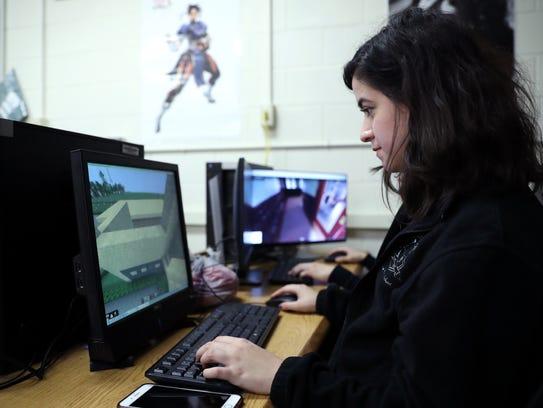 Lexi Jimenez, 17, a student in Katherine Hewett's class