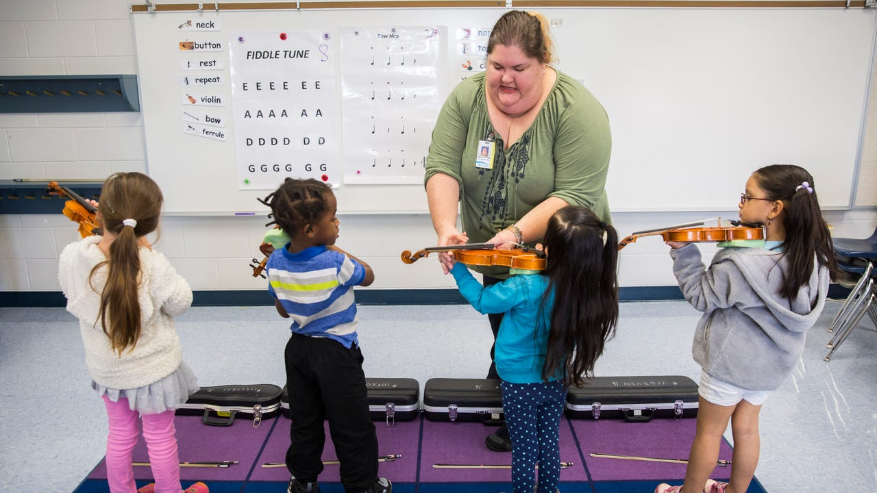 Avalon Elementary School students learn the basics of playing the violin during the MusicScores! program on Wednesday, Jan. 24, 2018.