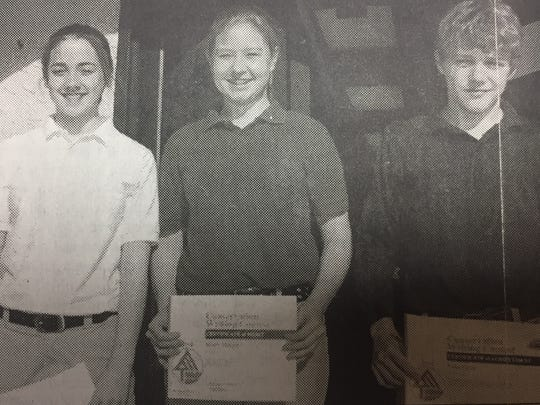 Pictured from left are Rebecca Buckman, Molly Stenger, and Luke Ervin, all of St. Ann's School, who all placed in the writing portion of the contest held by the Union County Conservation District in April 2005.
