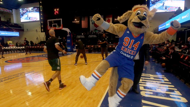 Dan Bova as Hudson, the mascot for the Westchester Knicks, leaps and kick this heals before a game at the Westchester County Center in White Plains March 24, 2017. Bova was invited by the team to see what it's like to be a team mascot.