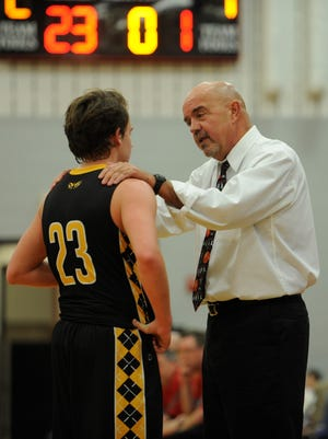 Paint Valley boys basketball coach Dave Shoemaker talks to point guard Caden Grubb during a game at Piketon High School on Jan. 22, 2018. Shoemaker's supplemental coaching contract was non-renewed by the school district Tuesday night.