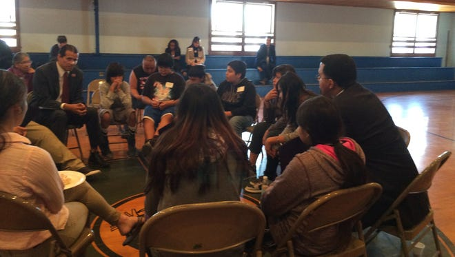 Secretary of Education John B. King Jr. meets with students on the Pine Ridge Indian Reservation on Thursday, May 12, 2016.