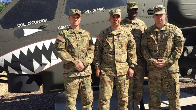 From left, 1st Lt. Adam Barber, Lt. Col. R.J. Garcia, Command Sgt. Maj. Terri Clavon and Maj. Mike Gourgues played significant roles during the 3-6 Cav's deployment to Iraq and Kuwait.