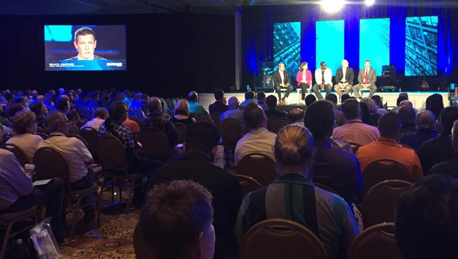 A panel discusses how evangelical Christians will be involved in the political process in the future during a session at the Ethics and Religious Liberty Commission's national conference on Thursday in Nashville.