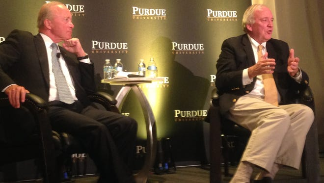 Purdue University President Mitch Daniels (left) and Mike McCurry, co-chair of the Commission on Presidential Debates, talked about the 2016 elections during an event Wednesday, Sept. 7, 2016, for Purdue alumni in Washington.