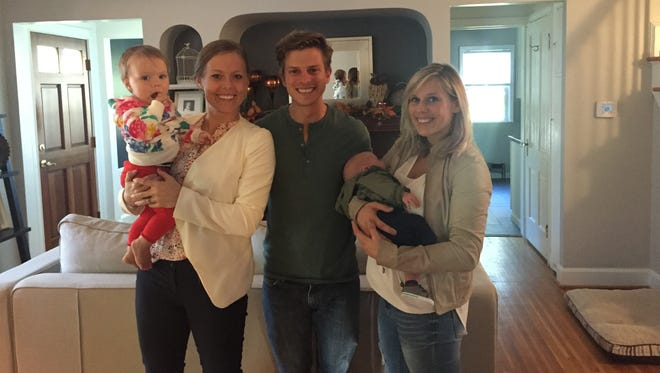 Mandy Friend Gigliotti with her daughter, Aliana, and Justin and Bethany Stevens with their son, Caden.