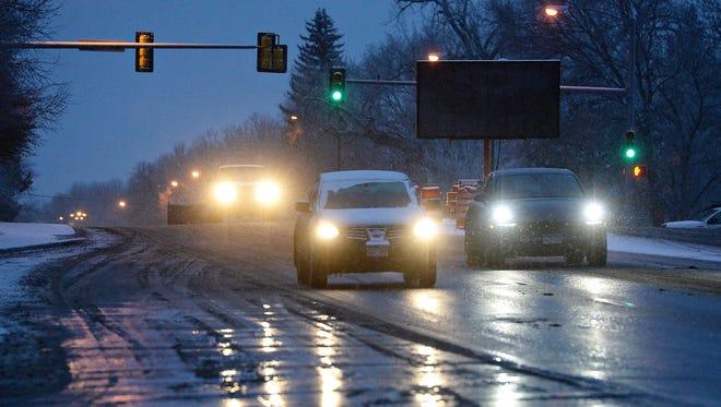 Traffic on South Shields Street after freezing rain overnight on Thursday, February 2, 2017.