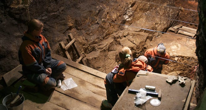A look at excavation underway in Denisova Cave in Siberia, where DNA from a recovered toe bone from a Denisovan helped provide evidence of interbreeding of Neanderthals and other human ancestors.