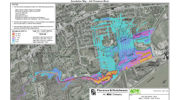 Worst-case scenario flooding in the event of levee