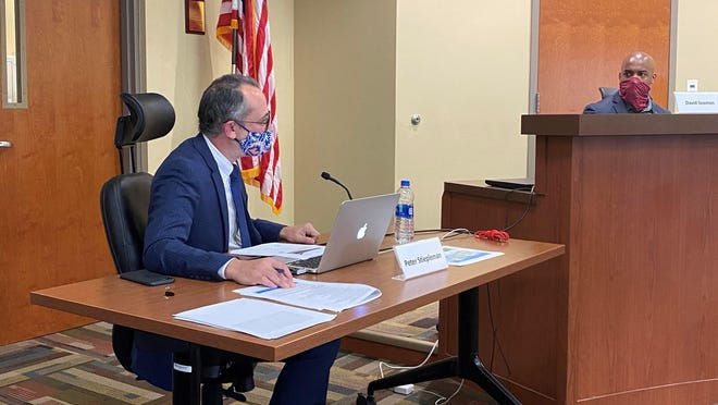 Columbia Public Schools Superintendent Peter Stiepleman explains the district's revised reopening plan on Monday to the Board of Education. The new calendar calls for a start date of Sept. 8.