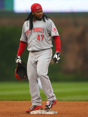 Johnny Cueto reacts to a play during the fourth inning.