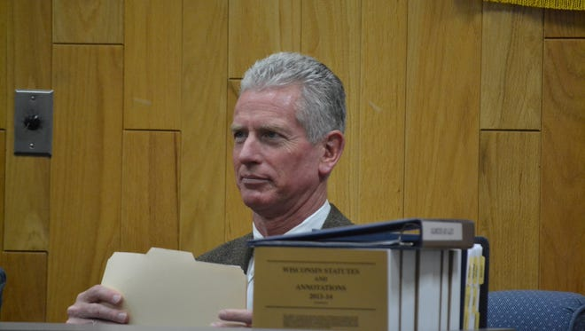 Oconto City Attorney Frank Calvert, seen at a council meeting in November 2016. Calvert also serves at court commissioner for Oconto County. The Wisconsin Supreme Court last week suspended Calvert from his court commissioner post for 15 days.