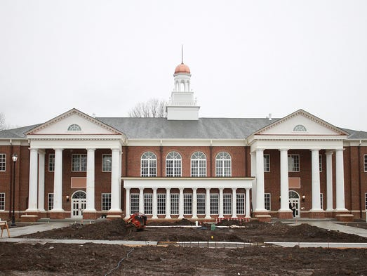 The view of Coffman Hall from the quad on the first