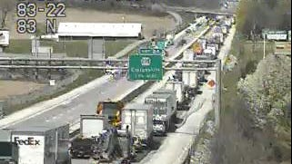 Pothole repairs being conducted on Interstate 83 is slowing traffic Thursday, April 26. Photo courtesy of 511pa.com