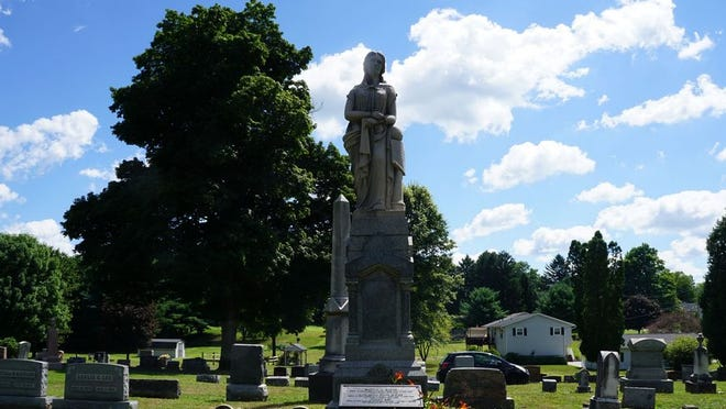 """The final resting place of the """"Giants of Seville,"""" Captain Martin Van Buren Bates (7' 9"""" tall) and his wife, Anna Bates (7' 11"""" tall), in Mound Hill Cemetery. The tribute to the Captain's service for the Confederacy is a bit problematic, to say the least."""