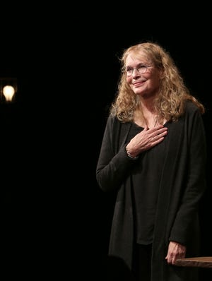 """Mia Farrow takes her opening night curtain call for the play """"Love Letters"""" on Sept. 18 in New York."""