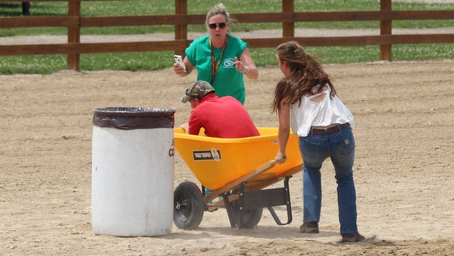 Dennis and Kelsey Schwochert compete in the fun classes at the Jefferson County Fair.