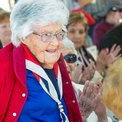 U.S. Marine Corps veteran Betty Sompii, who is 102