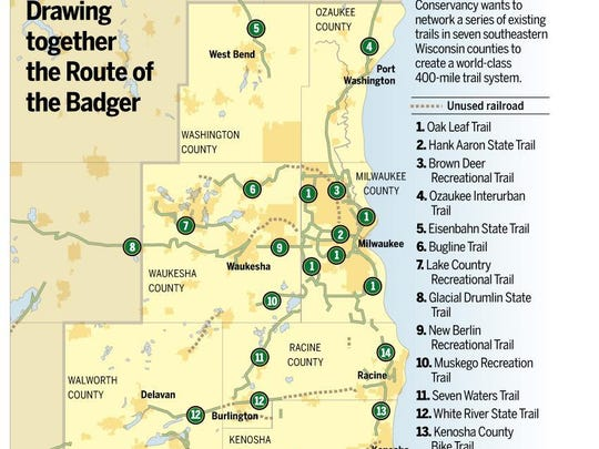 The Route of the Badger hopes to connect trails in southeastern Wisconsin to create a 400-mile system.