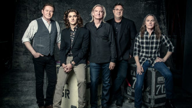 The Eagles of 2017 include Don Henley, left, Deacon Frey, Joe Walsh, Vince Gill and Timothy B. Schmit. The band announced four dates in October 2017 where Deacon Frey, son of the late Glenn Frey, and Gill will help fill Glenn Frey's role.
