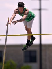 Breckenridge High School's Braden Campbell clears the