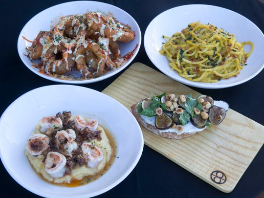 The menu at Cornerstone Kitchen & Tap includes (clockwise from bottom left) shrimp and grits, Three Ring Circus onion rings, squash carbonara and fig toast.