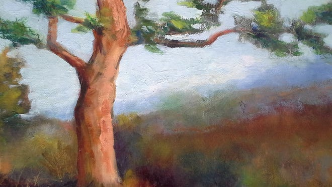 """Solitary Sentinel,"" an oil painting by Jean McCauley, is on display at Heidi J Hale Designs, 301 S Walnut St."