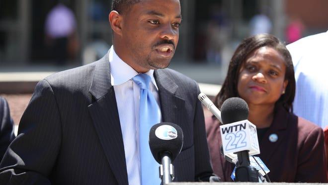 Wilmington City Councilman Darius Brown speaks at an event on June 22.