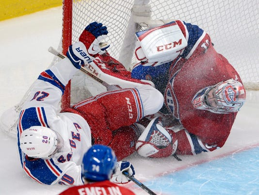 Rangers Canadiens 2014 Game 1 Chris Kreider Carey Price collide