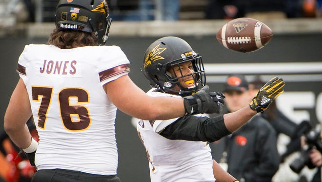 Arizona State Sun Devils running back Demario Richard (4) celebrates after scoring a touchdown during the second half in a game against the Oregon State Beavers at Reser Stadium.