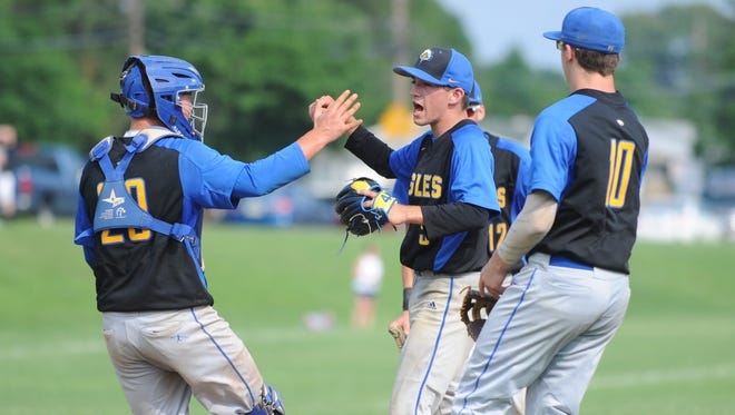 Pennsville celebrates after capturing the South Jersey Group 1 championship with a 8-0 win over Glassboro on Friday. 06.01.18.