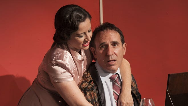 """Genevieve Levin plays Amanda Prynne and Alan Waserman plays Elyot Chase in this scene from """"Private Lives"""" at the Camarillo Skyway Playhouse through Sept. 16."""