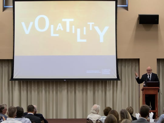 Economist Bill Watkins delivers his final economic forecast for Ventura County during a luncheon Thursday in Camarillo.