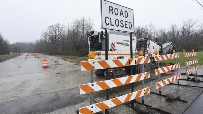 Roadwork has begun at the entrance to Warren Dunes State Park in Bridgman, Mich., Thursday, April 18, 2019, as part of a $1.1 million enhancement project that should be completed by May 20th this year.