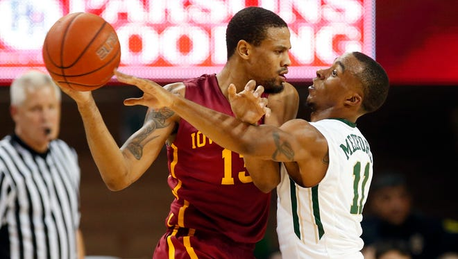Iowa State Cyclones guard Bryce Dejean-Jones (13) looks to drive as Baylor Bears guard Lester Medford (11) defends during the game at Ferrell Center. Baylor won 74-73.