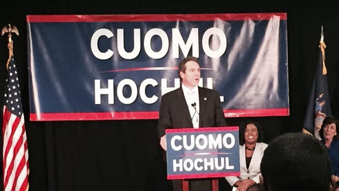 Gov. Andrew Cuomo, who faces a re-election challenge Tuesday from Republican Rob Astorino, speaks to supporters at a rally Friday in Rochester.