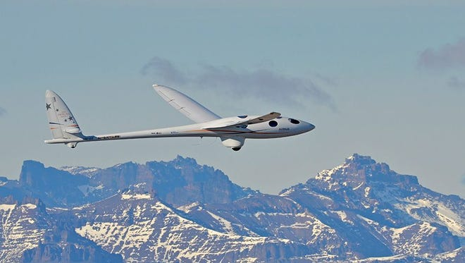 A Perlan glider, the result of a non-profit research project sponsored by Airbus, Weather Extreme, United Technologies and BRS Aerospace, flies over the Andes near El Calafate, Argentina.