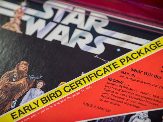 "The Kenner Early Bird Certificate Package was essentially an IOU from the Kenner Toy company in Cincinnati for the Christmas of 1977. The buyer was guaranteed four ""Star Wars"" figurines as soon as they were off the factory line. The expected delivery date was between February and June."