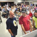 Resident Chris Donley speaks before the Newberry Township board of supervisors Tuesday, July 26, 2016, during a meeting regarding approval of plans for the construction of two large warehouse-distribution centers in the township. The board unanimously approved plans for the project. Bil Bowden photo