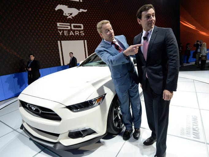 Ford's Executive Chairman Bill Ford  shows off the new 2015 50th anniversary Limited Edition Mustang with Mark Fields, chief operating officer,