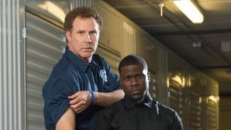 """Will Ferrell and Kevin Hart put their """"hard"""" faces on."""