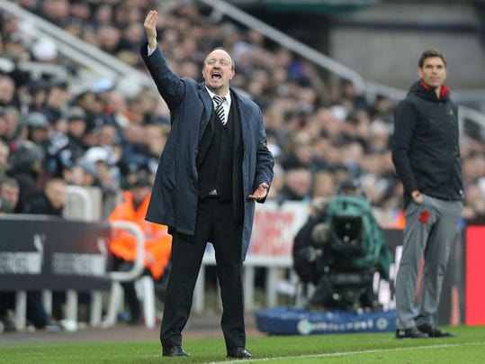Newcastle United manager Rafael Benitez reacts on the touchline during the match against Southampton during their English Premier League soccer match at St James' Park in Newcastle, Saturday March 10, 2018. (Owen Humphreys/PA via AP)