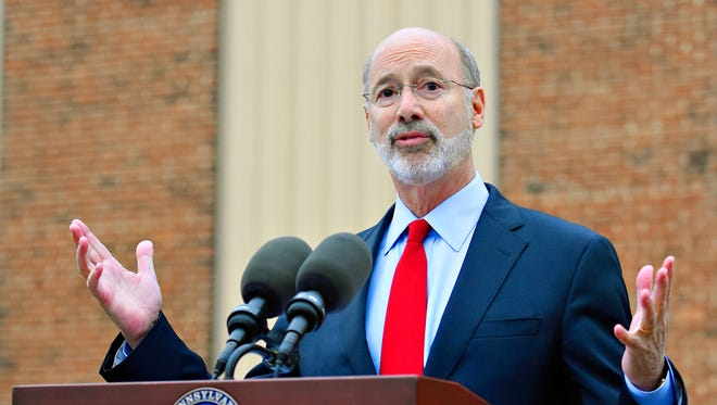 Gov. Tom Wolf announces numerous grants, including a $7 million grant to York County History Center during a press conference outside of the center at 147 W. Philadelphia St. in York City, Friday, Dec. 22, 2017. Dawn J. Sagert photo