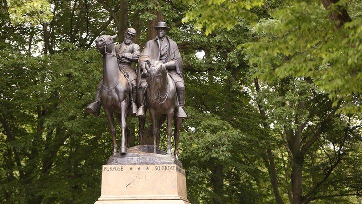 "A monument featuring Thomas J. ""Stonewall"" Jackson,"
