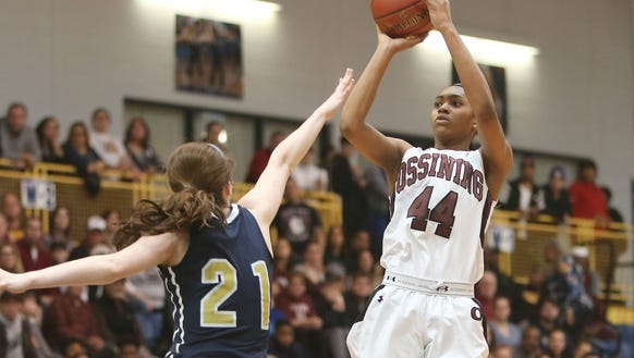 Ossining's Aubrey Griffin (44) puts up a shot in front