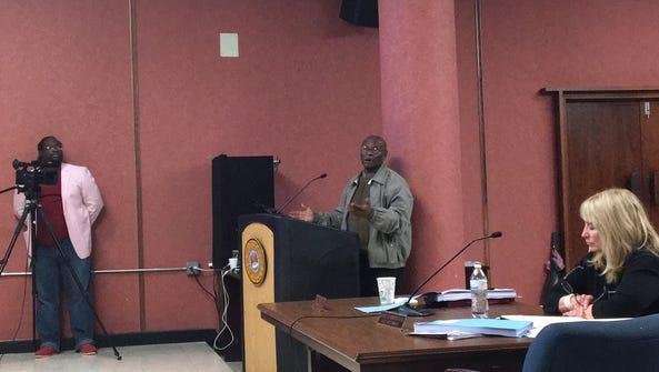 Frank Taylor addresses the Monroe City Council.
