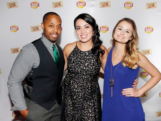 """The three Lay's """"Do Us a Flavor"""" contest finalists Gregory Pope (from left), Ellen Sarem and Lindsay Hoffman gather Oct. 10, 2017 in Dallas to celebrate the culmination of this year's potato chip flavor competition."""