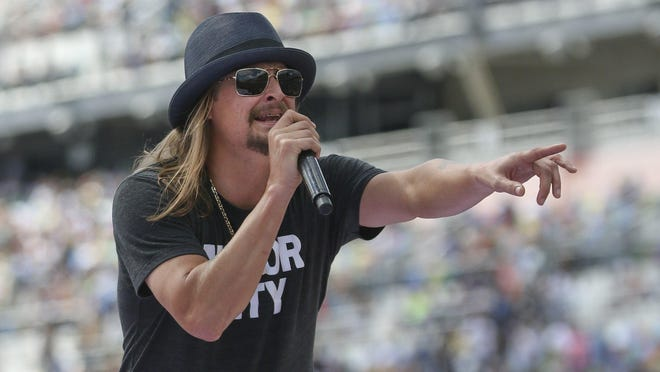 Singer Kid Rock performs a concert before the Daytona 500 auto race on Feb., 22, 2015 in Daytona Beach, Fla. (AP Photo/Reinhold Matay