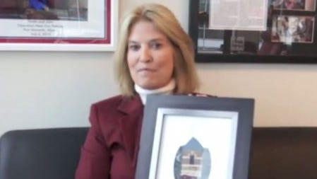 Greta Van Susteren opened a gift from Cleo's bar in downtown Appleton in a video on her Facebook page.