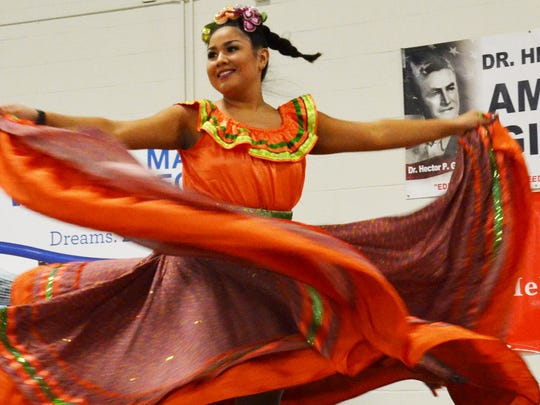 Brianna Garcia, a Feria de las Flores contestant, performed Wednesday, Sept. 20, 2017, during the Dr. Hector P. Garcia Texas State Recognition Day at Del Mar College.